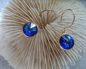 Sapphire 12mm Swarovski Rivoli earrings