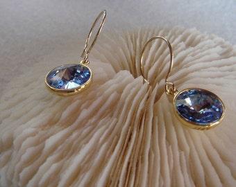 Light Sapphire 12mm Swarovski rivoli earrings