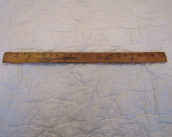 """Vintage Wood Ruler Showing only 1/2"""" and 1"""" markings up to 12"""