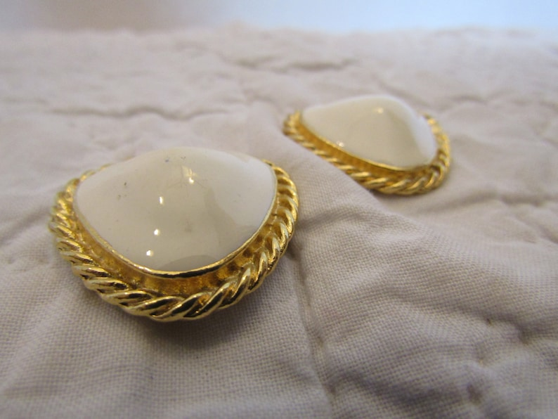 Shoe or Dress Clips Off White and Gold tone metal SALE Vintage Item