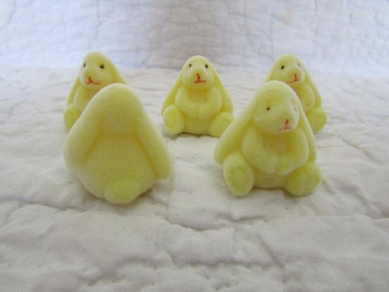 Lot of 6 Flocked Miniature Bunnies Yellow