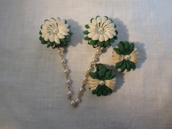 Sweater Clip / Guard with Earrings Vintage