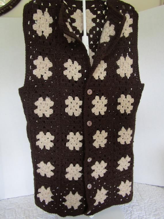 Vest Granny Square Afghan Crocheted Vintage Item - image 2