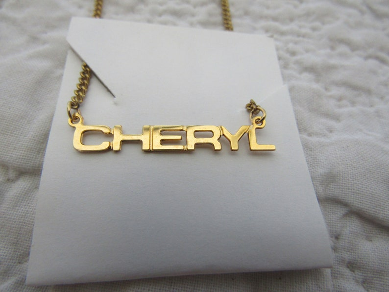 Vintage Cheryl Necklace on card Block Letters