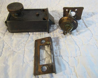 Vintage Yale Deadbolt Lock set with original Key Mid Century mixed brass and metal