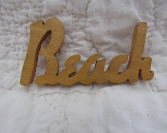 Vintage Wood Beach word Mid Century SALE