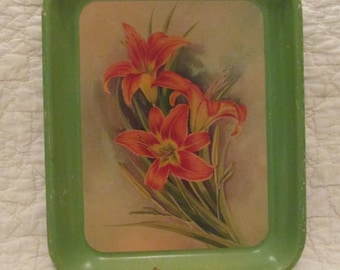Vintage Metal Serving Tray with Tiger Lilies SALE