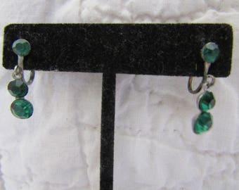 Vintage Screwback Earrings with Green Stones