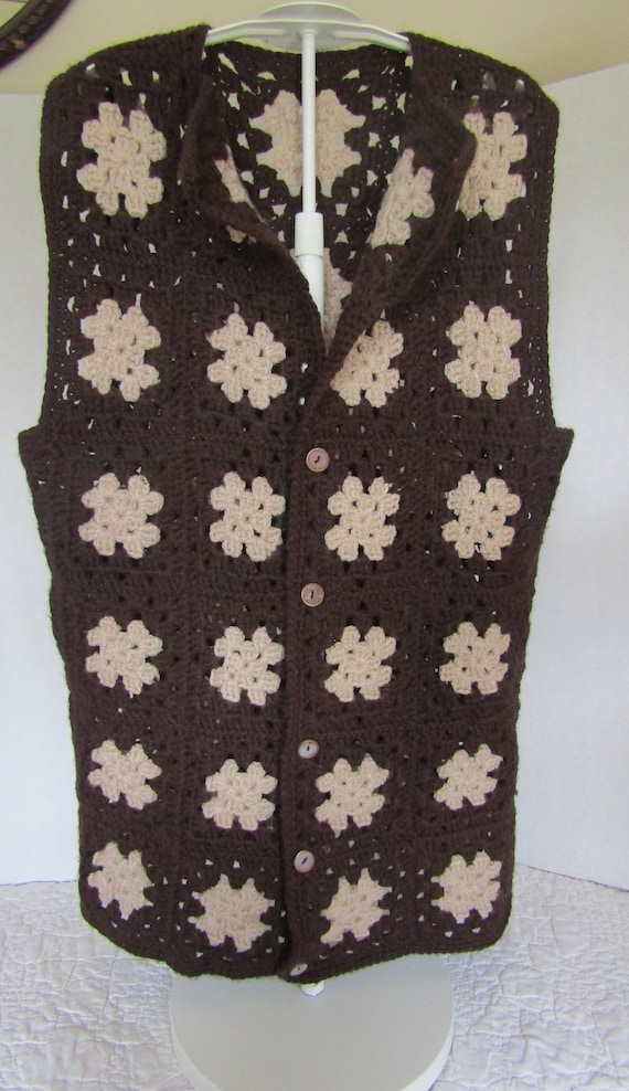 Granny Square Vest Afghan Crocheted Crochet Button