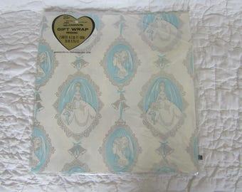 Vintage Gift Wrap Bridal Dennison Paper 1960's 2 Full Sheets in Plastic Wrap