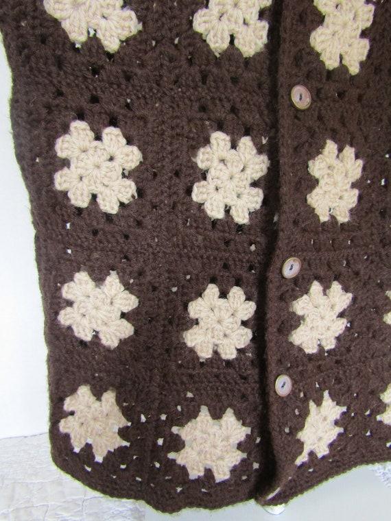 Vest Granny Square Afghan Crocheted Vintage Item - image 6