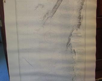 Vintage Nautical Map Large Canada Nova Scotia Bay of Fundy Yarmouth to Petit Passage