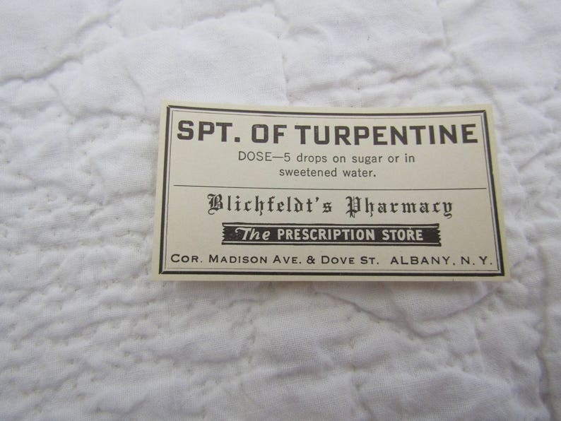 Vintage Pharmacy Labels SPT Of Turpentine 1/5 of box wholesale lot