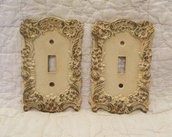 2 Vintage Light Switch Covers Single Switch Hollywood Regency Style