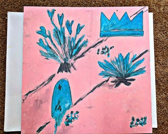 "ORIGINAL ART 24""x24"" The Seeds Proclamation Plywood Acrylic Jesus Mystic Spirit Tranquil Grace Green Peach"