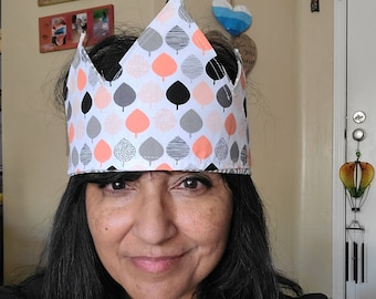 Reversible fabric crown Adult child party hat Queen make believe Peach trees Gray geometric princess prince birthday Montessori Bridal