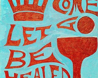 "ORIGINAL ART Be Healed 24""x24"" Plywood Acrylic Art Dragonfly Inspiration Jesus Mystic Spirit Chalice Peace Door New Begin Tranquil Grace"