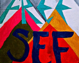 "ORIGINAL ART 24""x24"" Free See Mountains Proclamation Plywood Acrylic Jesus Mystic Spirit Tranquil Retro Colors"