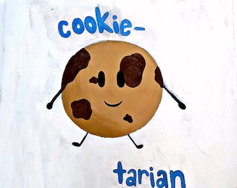 """ORIGINAL ART 24""""x24"""" Cookie Tarian Cookie Lover Proclamation Plywood Acrylic Chocolate Chip Cookie"""
