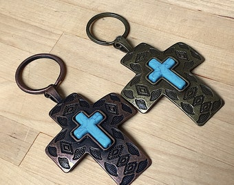 Pewter antiqued Brass Cross Keychain, Key Ring with turquoise colored cross, finished back,  bronze cross, Catholic cross, rustic cross