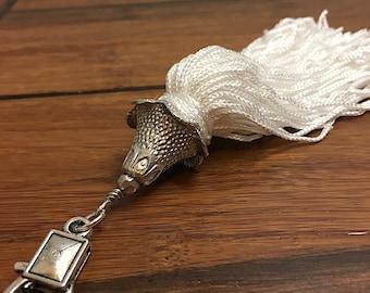 White long tassel, white zipper pull, tassel zipper pull, zipper pull tassel, white fringe tassel, bag tassel, tassel for bag, purse tassel