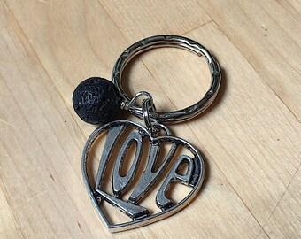 Pewter keychain,  hearts keychain, love keychain, love heart keychain, essential oils, pewter heart keychain, keyring, oils keychain