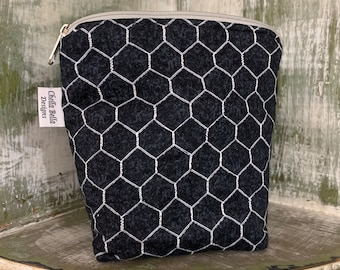 Essential oils case, black and white chicken wire print,  holds 6-9 rollers or bottles