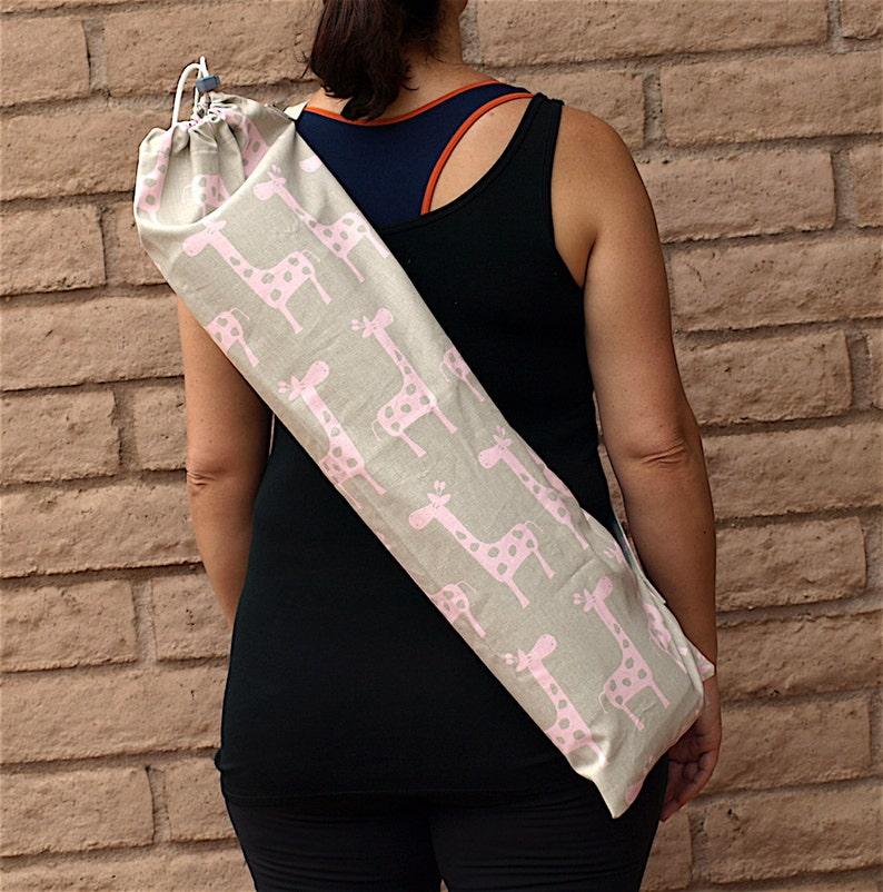 yoga bolster yoga giraffe yoga bag yoga carrier yoga sling yoga tote Yoga mat bag with pocket handmade with pink and grey giraffe