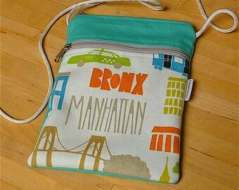 Cross body bag, New York pouch, cross body pouch, cross body pouch, cell phone case, smartphone bag, phone case, cross body wallet