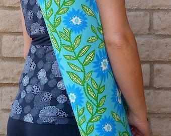 Mothers day gift, Yoga Mat Bag, yoga sling, yoga mat carrier, yoga sac, CALM blue and green yoga mat bag, floral yoga mat bag, yoga mat tote