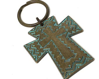 Pewter keychain, Patina keychain, Cross Keychain with lava bead for essential oils, key ring, Catholic cross, rustic cross, keyring