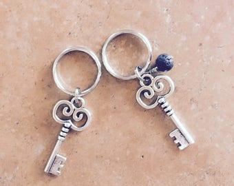 Key keychain, pewter key, keychain, keyring, silver keychain, silver key, essential oil key chain, oil key ring, oil key chain, lava bead