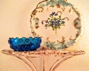 Antique Pressed Glass and  Cold Painted Milk Glass Plate