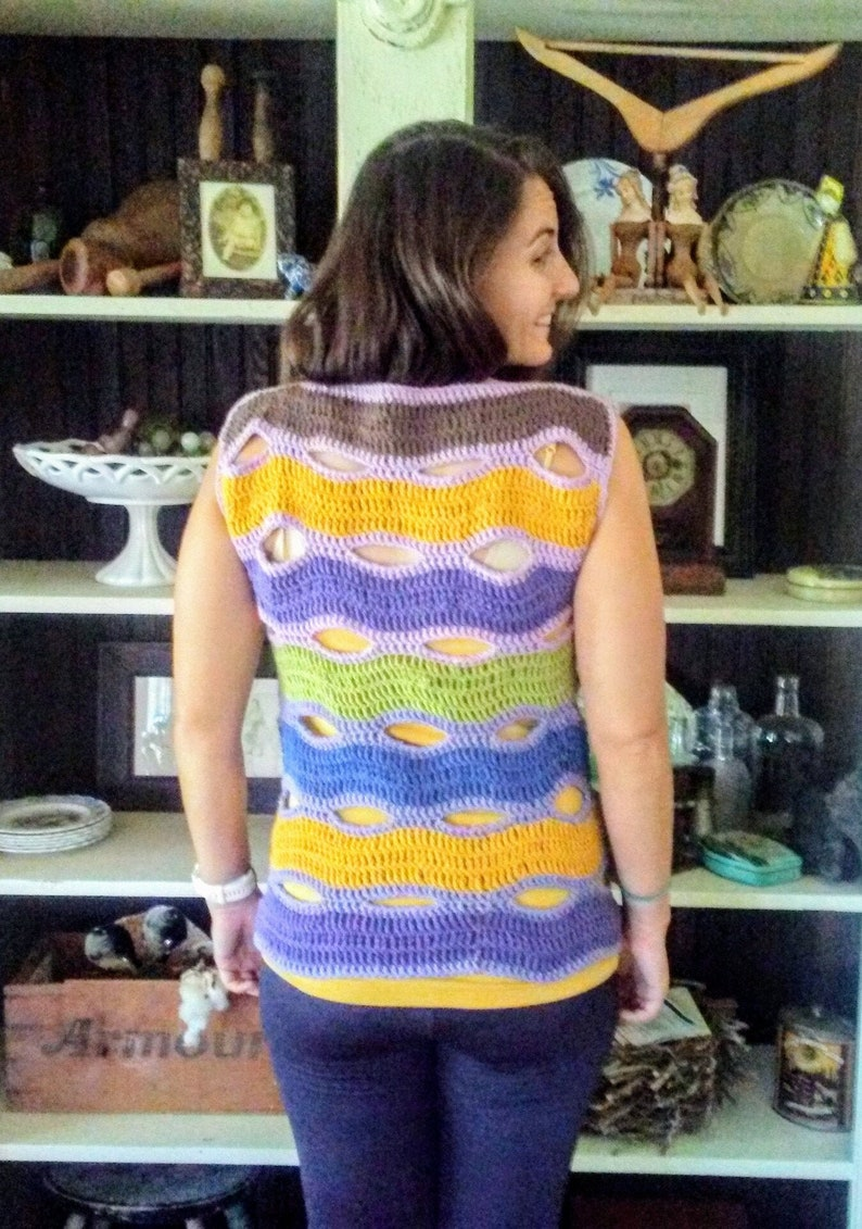 Handmade Crocheted Cotton Wave Top in Autumn Colors