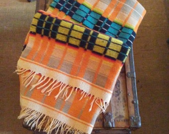 Vintage Hand Loomed Double Thick Wool Blanket with Hombre Stripes