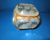 Antique Ornate Brass and Beveled Etched Glass Jewelry Casket as found