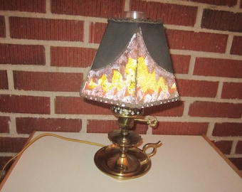 Vintage 1950s to 1960s Marble Based Small Accent Lamp Glass Hanging Crystals Gold Tone Night Stand Bedroom Fancy No Shade Electric Plug in