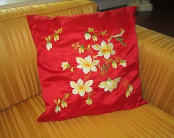 Vintage Red Silk Chinese Embroidered Pillow With Apple Blossom Design