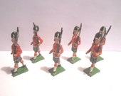 Vintage Mid Century 6 pc Lot of Lead Toy Scots Guards Soldiers Made in England