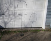 Vintage 1920s 30s Primitive Black Painted Metal Bird Cage Hoop Floor Stand with Ornate Cast Iron Base
