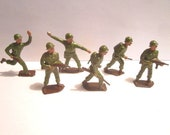 Vintage Mid Century 6 pc Lot of Lead Toy WW2 Soldiers Made in England