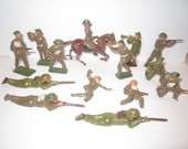 Vintage Mid Century 14 pc Lot of Lead Toy WW1 Soldiers Made in England
