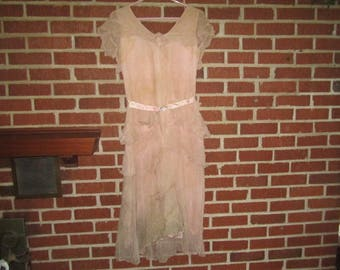 Vintage 1920s Dusty Pink Silk Chiffon Bedraggled Dress as found