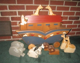 Vintage Large Wooden Noah's Ark Push Toy with Animals Perfect for Childs Room Decor