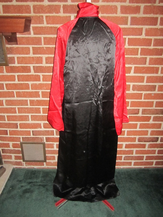 Vintage 1920s Spectacular Black and Red Silk Sati… - image 4