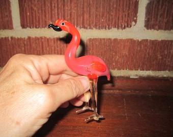 Vintage Hand Blown Glass Standing Pink Flamingo Figurine
