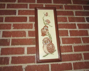 Vintage Owl Family Wool Needlepoint Framed Wall Decor