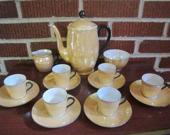 Vintage 1920s/30s PERFECT Czech Porcelain Copper Tint Luster Complete 16 pc Demitasse Coffee Set