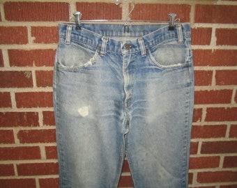 Vintage 1970s Levis 32x31 Orange Tab Worn Blue Jeans No.1