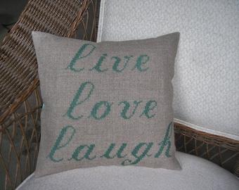 """Cottage Chic Linen Burlap Accent Pillow """"LIVE,LOVE,LAUGH"""""""